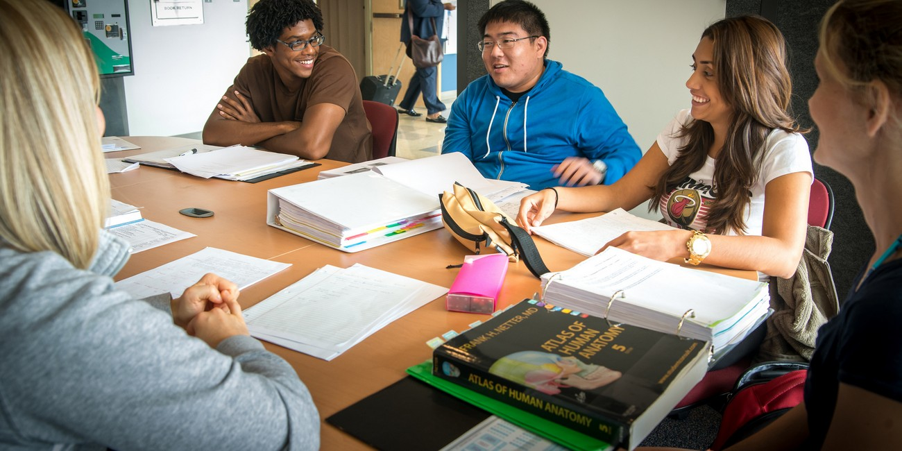 Students enjoy a study group.