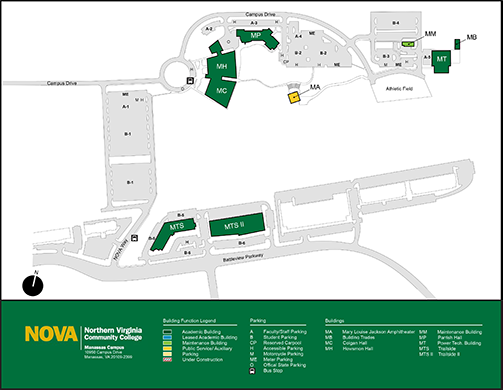 alexandria nova campus map Manassas Campus Northern Virginia Community College alexandria nova campus map