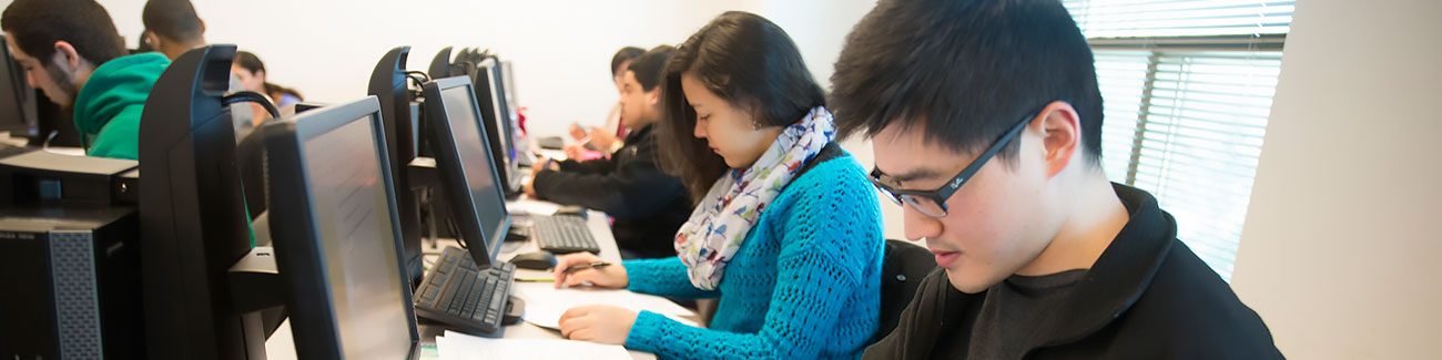 students study in computer lab