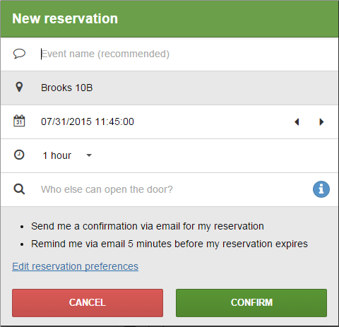 New Reservation