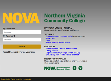 Log In to NOVAConnect/Student Information System (SIS